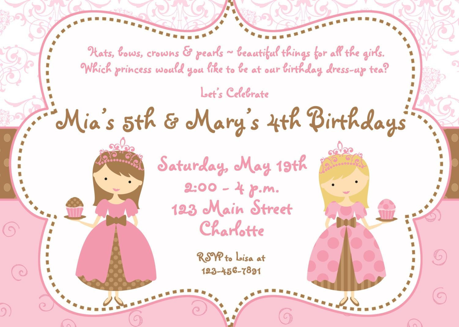 Tea Party Birthday Invitation Cupcake party princess tea