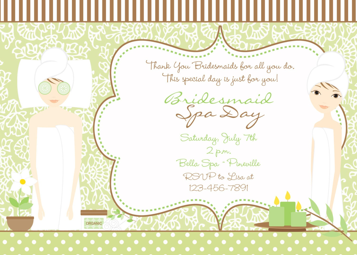 Spa Bridal Shower Invitation green and brown bridal spa day