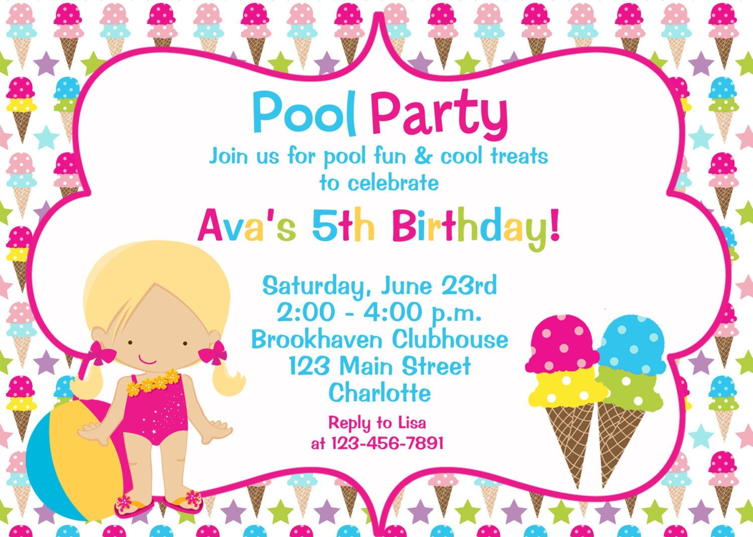 Pool and Ice cream party birthday Invitation pool party – Reply to Party Invitation