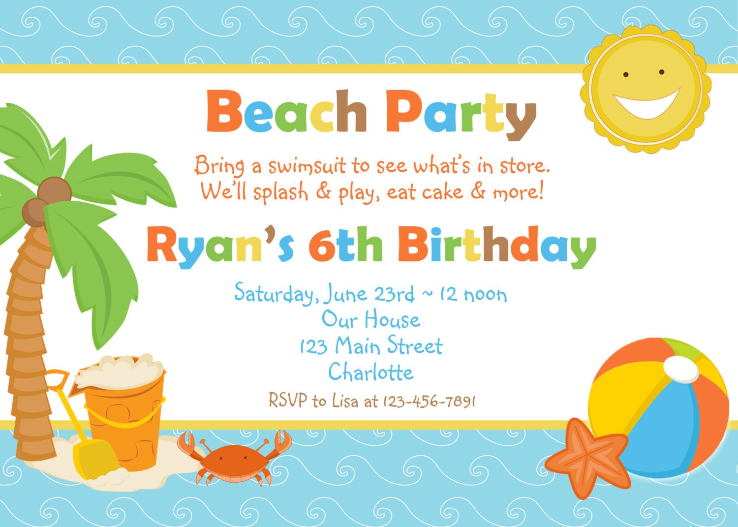 beach party birthday invitation pool party by
