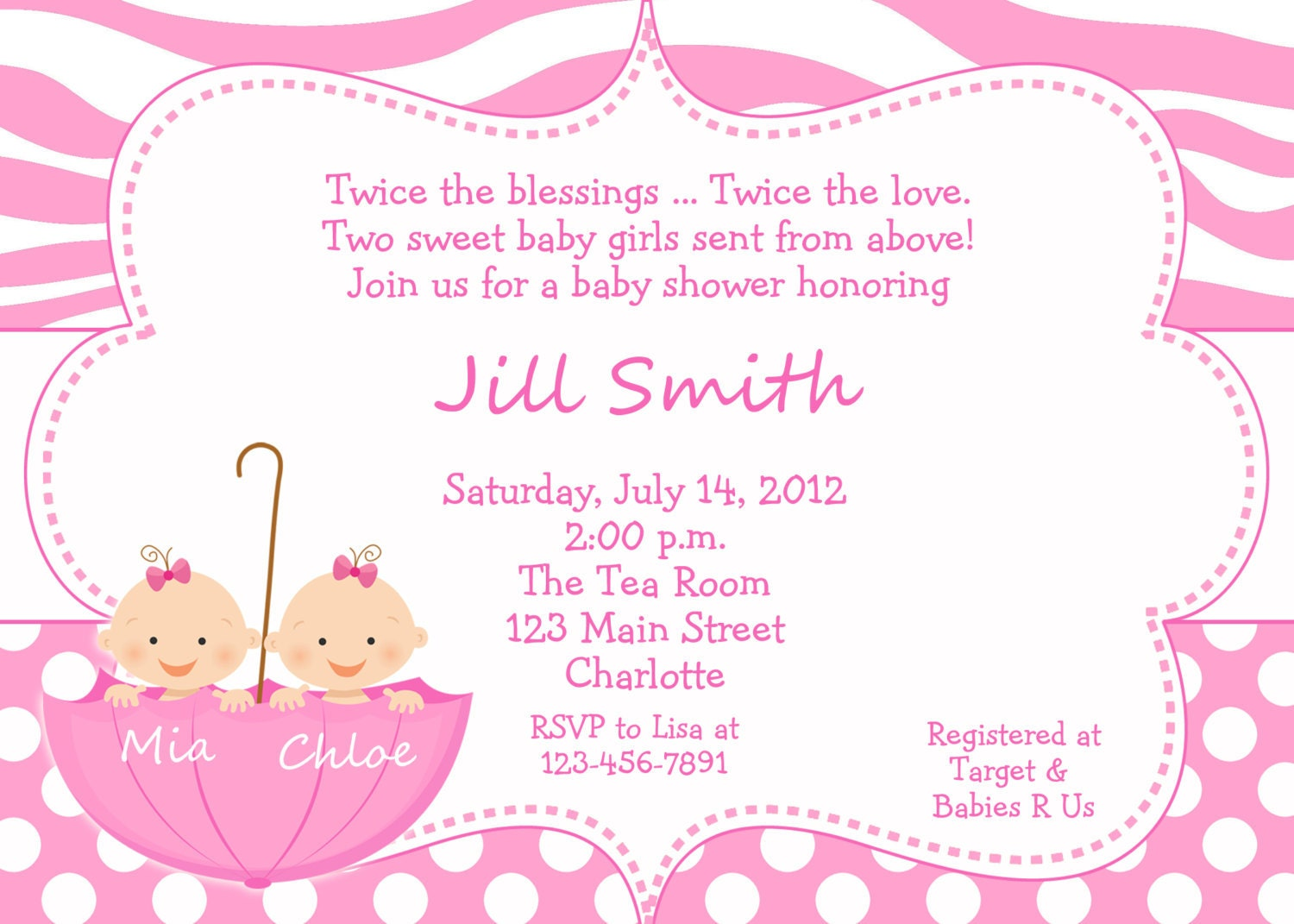 Twin Baby girls shower invitation twins by TheButterflyPress