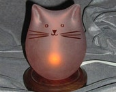 Salmon Glass Cat Lamp