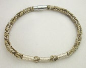 Taupe Recycled Cotton Silver Embroidered Magnetic Closure Vrlika Bracelet