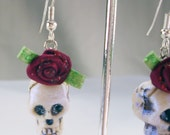 Ghostly Rose Skull Earrings (Pierced or Clip On)