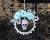 Ghostly Skulls & Blue Roses Circle Earrings (Pierced or Clip On)