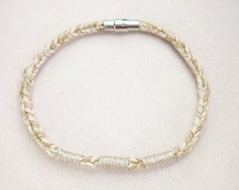 Beige Recycled Cotton Silver Embroidered Magnetic Closure Vrlika Bracelet