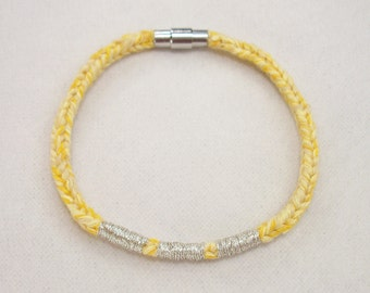Yellow Recycled Cotton Silver Embroidered Magnetic Closure Vrlika Bracelet