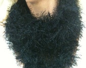 Thin Black Furry Infinity Scarf