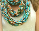 Finger Knit 5 Color Infinity Scarf