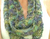 Thin Knit Purple And Green Sparkly Infinity Scarf