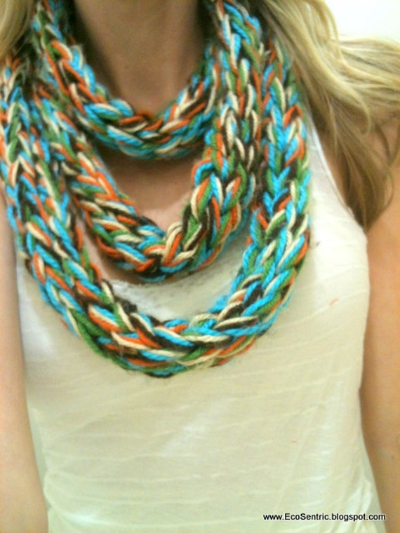 items similar to finger knit 5 color infinity scarf on etsy