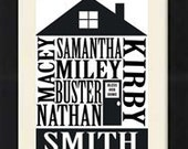 Personalized House Family Print 8x10 Wall Decor - Black and White - Custom Design - Family - House Print