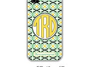 Monogram iphone 4 and 4s case Green and Black Lattice - custom made - create your own