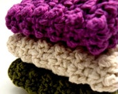 Nubby Cotton Dishcloth Trio in Royal Purple, Oatmeal and Forest Green