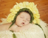 OOAK Flower Bonnet Photography Prop Handspun Yarn