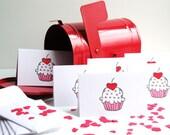 Mini Cupcake Cards Heart Confetti Valentine's Day Love Cupcake Party