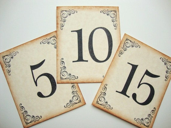 Wedding Table Numbers Rustic Country Vintage Style