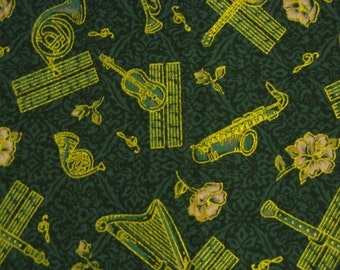 Musical Instruments Music Note Flower Fabric outlined in Gold Metallic - 1.3 yards