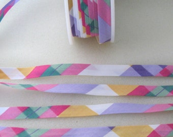 Plaid Single Fold Bias Tape - 1/2 inch single fold - 4.5 yards