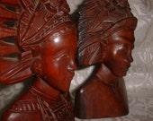 Pair of Asian Heads of Hardwood