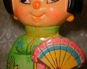 Sixties Cartoon Day Glo ASIAN Girl Bank Kitch Weird