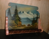 Oregon Painting of Three Sisters on a Kitchen Towel Rack
