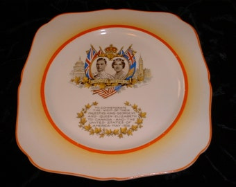 Commemorative 1939 Plate King George and Queen Elizabeth