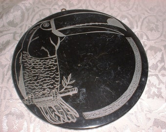 STONE Slate Slab rivet Hot Pad Twith Engraved TUCAN Bird