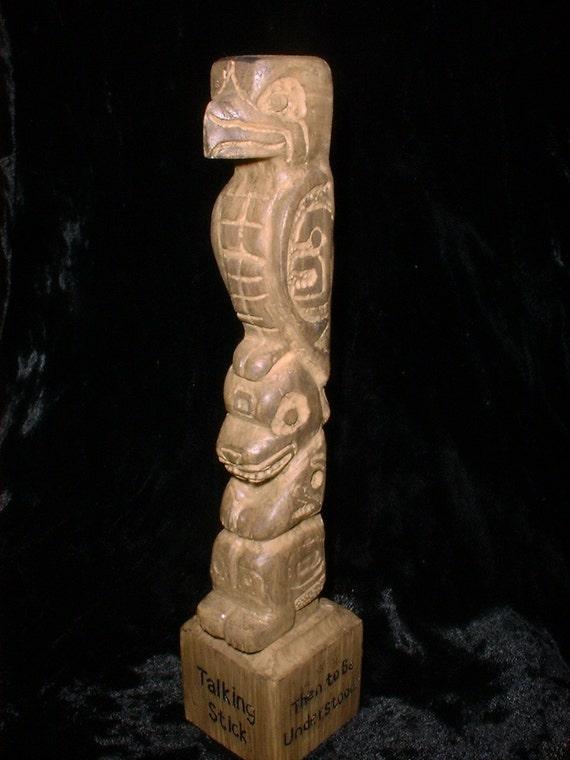 Small Carved Soap Stone Totem Pole Talking Stick