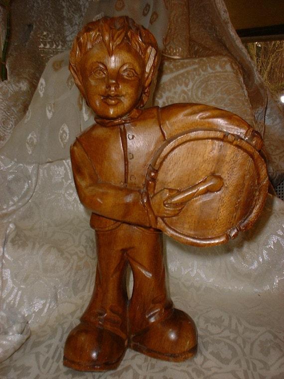 Vintage Hardwood DRUMMER BOY Carving Oh So Seventies WINDOW Display Rare