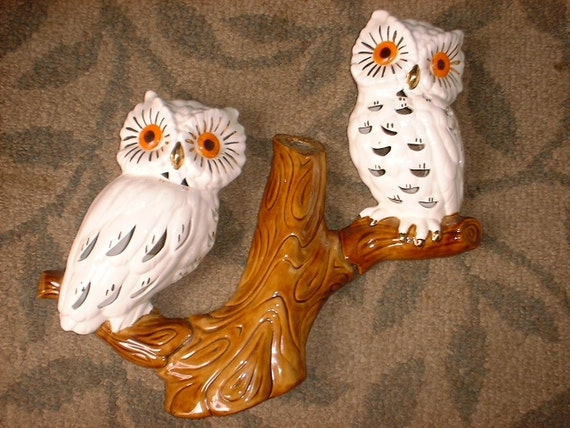Two Large Lightable Owls on a Branch Vintage Wall Decor REDUCED