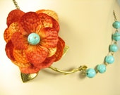 Orage Flower Necklace, Bridesmaid Necklace, Silk Fabric Necklace, Large Branch, Brass Leaf - 0062