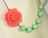 Flower Necklace, Bridesmaid Necklace, Coral Rose with Lime Green Beads