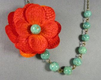 Deep Orange Silk Flower Necklace, Bright Orange with Green Beads, Bridesmaid Necklace - 0031
