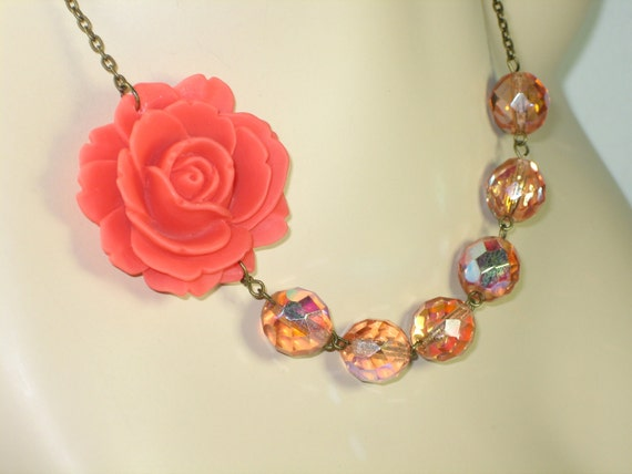 Flower Necklace, Bridesmaid Necklace, Large Coral Rose with Clear Coral Pink Beads