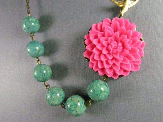 Flower Necklace, Hot Pink Fuschia, Bridesmaid, Brass Swallow, Green Beads - 0068