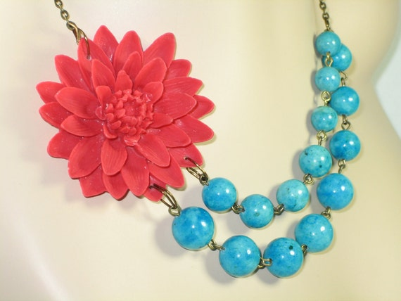Red Flower Necklace, Oversized Chrysanthemum, Red Mum, Turquoise Blue Beads, Bridesmaids - 0013