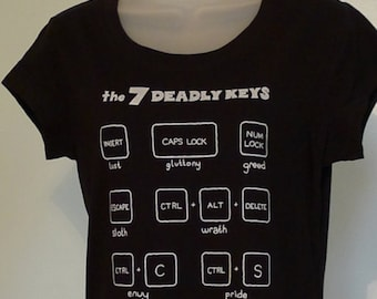 7 Deadly Keys Ladies T-Shirt Black