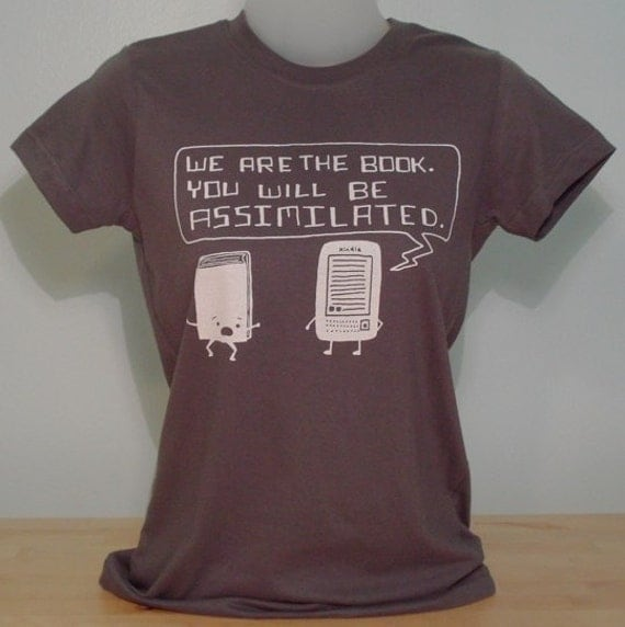 Kindle Will Assimilate Your Books Ladies Tee (Charcoal)