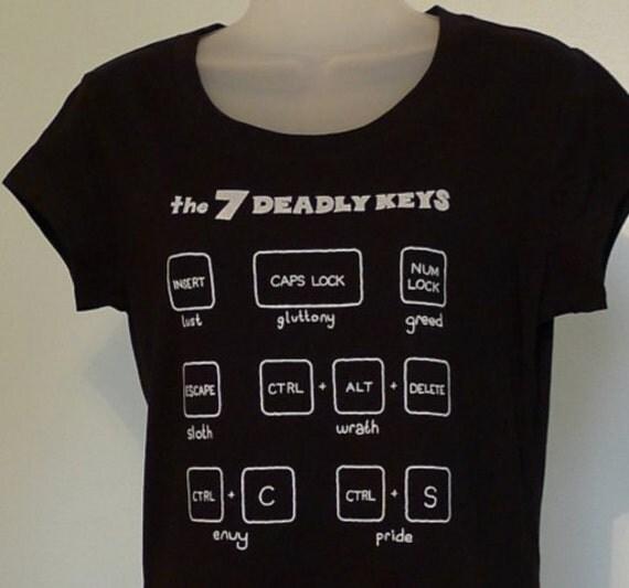 7 Deadly Keys Ladies T-Shirt Black