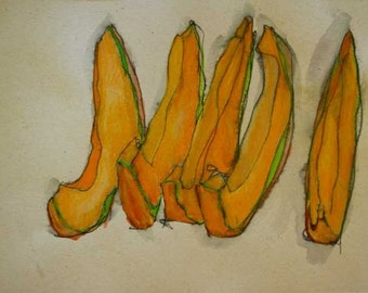 Melon Slices ink and color drawing on Hemp paper
