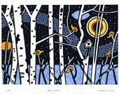 Backyard - Limited Edition 4 Colour Hand-Pulled Linocut Relief - Original Art Print