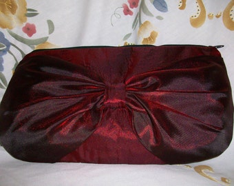 Red and Black  Satin Clutch Handbag