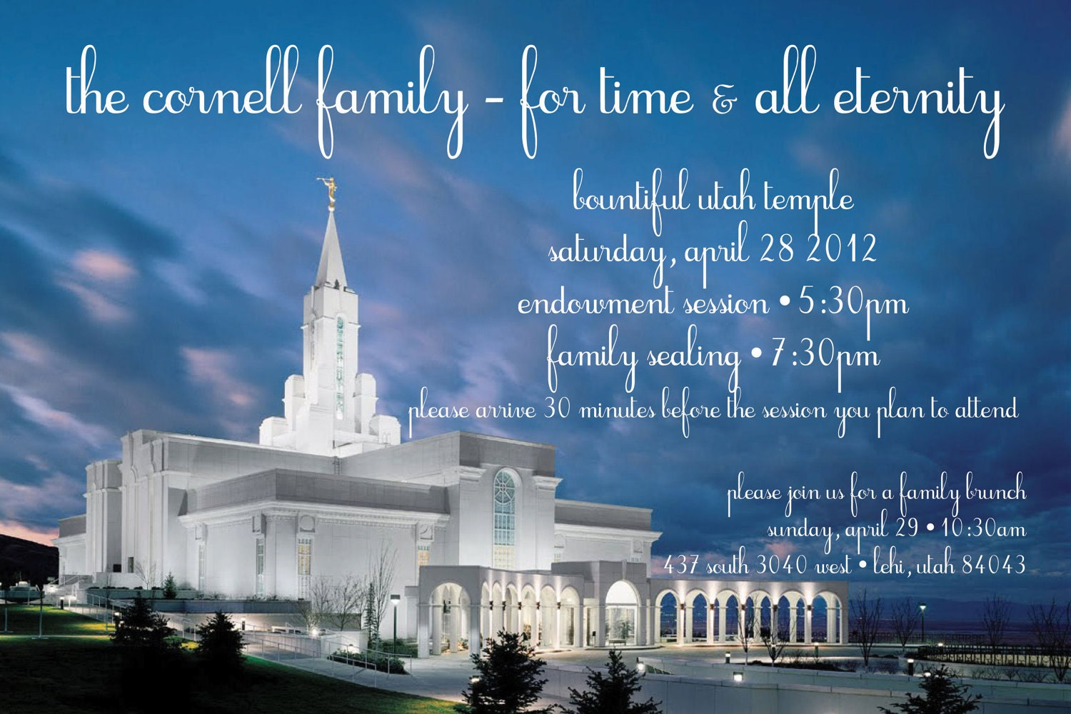 Temple Wedding or Family Sealing Invitation