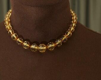 SALE WAS 30 Vintage Amber Crystal Necklace