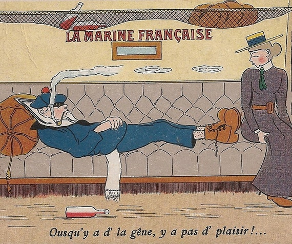 La Marine Francaise French Marine Comic Postcard Sailor Navy Boat Ship 1920s French Postcard