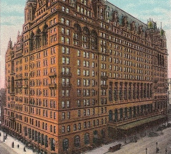 The waldorf astoria 1910 antique scene new york city street for Waldorf astoria antiques