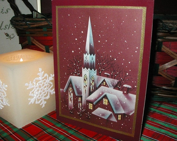 Snow Covered Church and Rooftops Scene on Burgundy Vintage Christmas Holiday Greeting Card from 1950s Scrapbook to frame or use in artwork