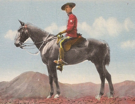 Royal Canadian Mounted Police  Early 1900s postcard  Canada Scene Police Man on Horse