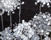 """ORIGINAL black and white abstract painting -10""""x10""""black white silver gray flowers by devikasart on Etsy"""